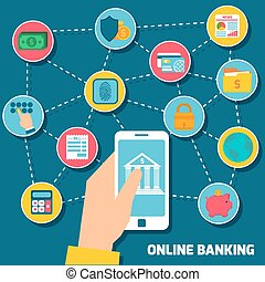 Online banking concept with hand holding smartphone with...