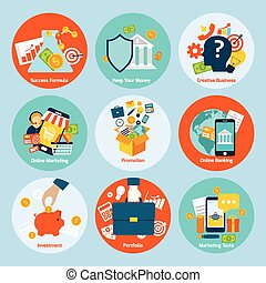 Business concept set - Business concept flat icons set with...
