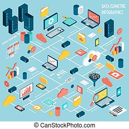 Data infographic set - Data infographic isometric set with...