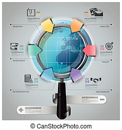 Global Business And Financial Infographic With Magnifying...