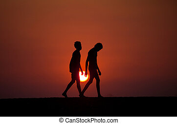 Boy silhouette Sri Lanka - Silhouette of the boys in...