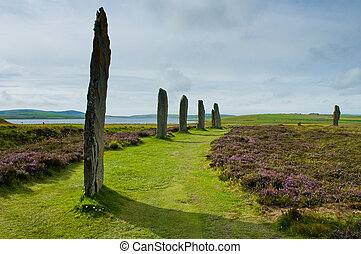 Standing stone circle in Orkney island, Scotland