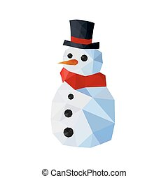 Illustration of funny origami snowman with joben and red...