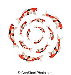 Illustration of origami koi fish swimming in circle