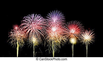 fireworks over sky - beautiful fireworks over sky at the...