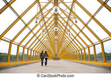 Pedestrians on pedestrian bridge