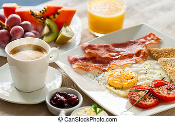 Continental breakfast with fresh fruit. - Close up of...