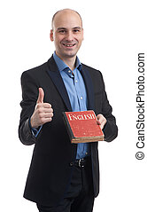 Learning english concept. Man with book isolated over white