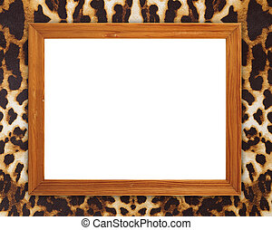 blank wood frame on leopard texture background