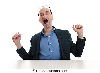 yawning business man isolated on a white background