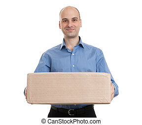 man with parcel - handsome businessman with parcel isolated...