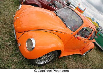 オレンジ, 自動車, 草