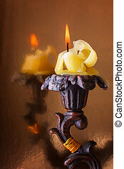Burning Candle in the Elegant Candlestick