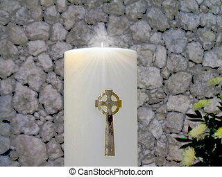 Candle with gold cross background computer wallpaper