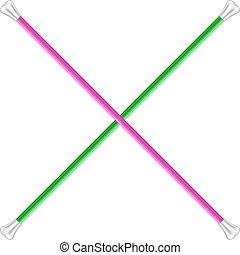 Two crossed twirling batons on white background