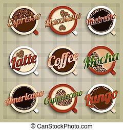 Coffee menu labels set with espresso macchiato ristretto...