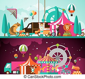 Circus day and night - Circus entertainment attractions day...