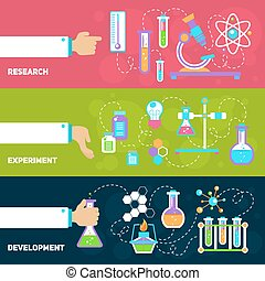 Chemistry design banners - Chemistry decorative horizontal...