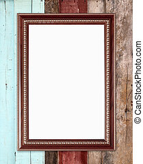 blank wood frame on wood wall background