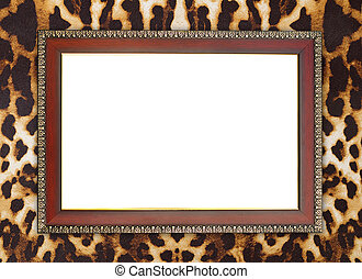 wood frame on leopard texture - blank wood frame on leopard...