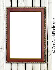 wood frame on bamboo wall