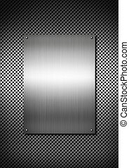 Silver Metal texture plate with screws