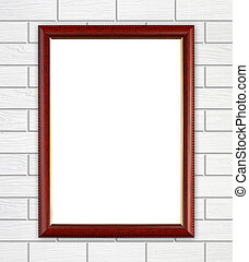 blank wood frame on brick stone wall background