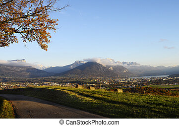 Annecy city and lake in france - Overview of Annecy city,...