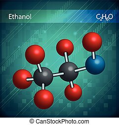 Ethanol molecules - An image showing the ethanol molecules