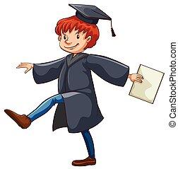 A graduate - A male graduate on a white background