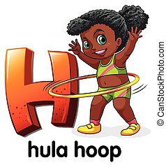 A letter H for hula hoop on a white background