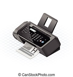 Isometric Fax Machine Vector Illust - This image is a black...