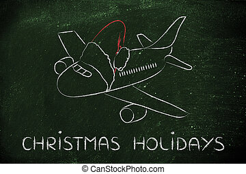 winter and Christmas holiday: plane with santa claus hat -...