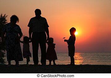 祖父, 祖母, 孩子, 針對, 背景, 傍晚