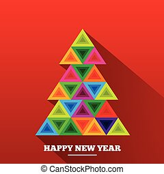 Christmas tree in rainbow triangles. Happy new year...