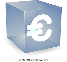 Pound cube icon - British pound icon on translucent cube...