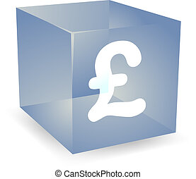 Pound cube icon - GB Pound icon on translucent cube shape...