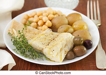 cod fish with chickpea and potato