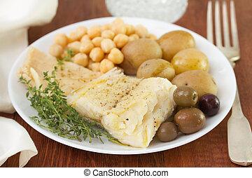 morue, fish, à, pois chiche, et, pomme terre,