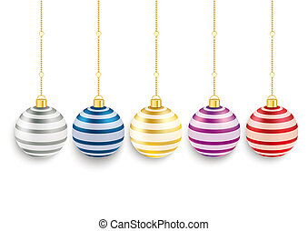 5 Colored Striped Christmas Baubles - 5 colored christmas...