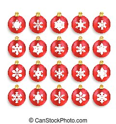 Red Baubles With Snowflakes Set