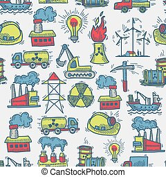 Industrial sketch seamless pattern - Industrial colored...