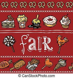 Fair sketch border - Fair holiday sketch border with sweet...