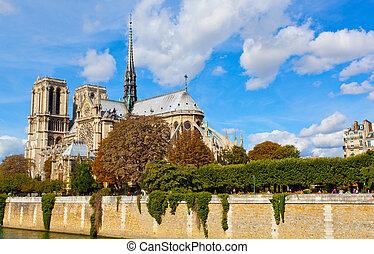 Paris, Notre Dame  along the Seine river