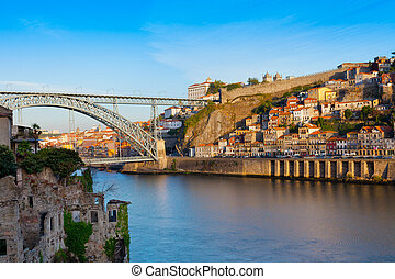 Bridge through River Douro in the city of Porto, Portugal at...