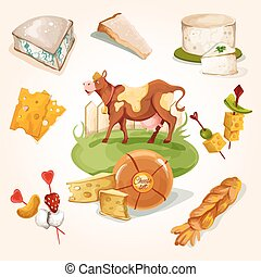 Natural cheese concept with food assortment and cow colored...