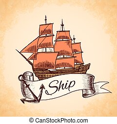 Tall ship emblem - Sailing tall ship wooden vintage clipper...