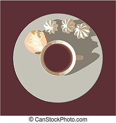 Cup tea - A cup of tea on a plate with biscuits and...