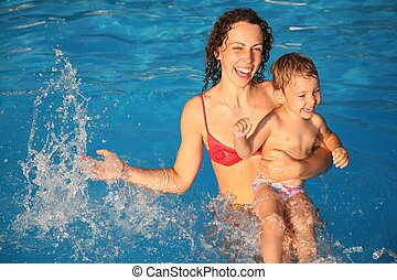 mother with the child in the water
