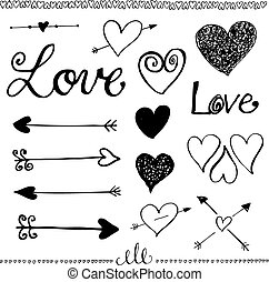 Ink hand-drawn doodle love set Heart and arrow - Ink...